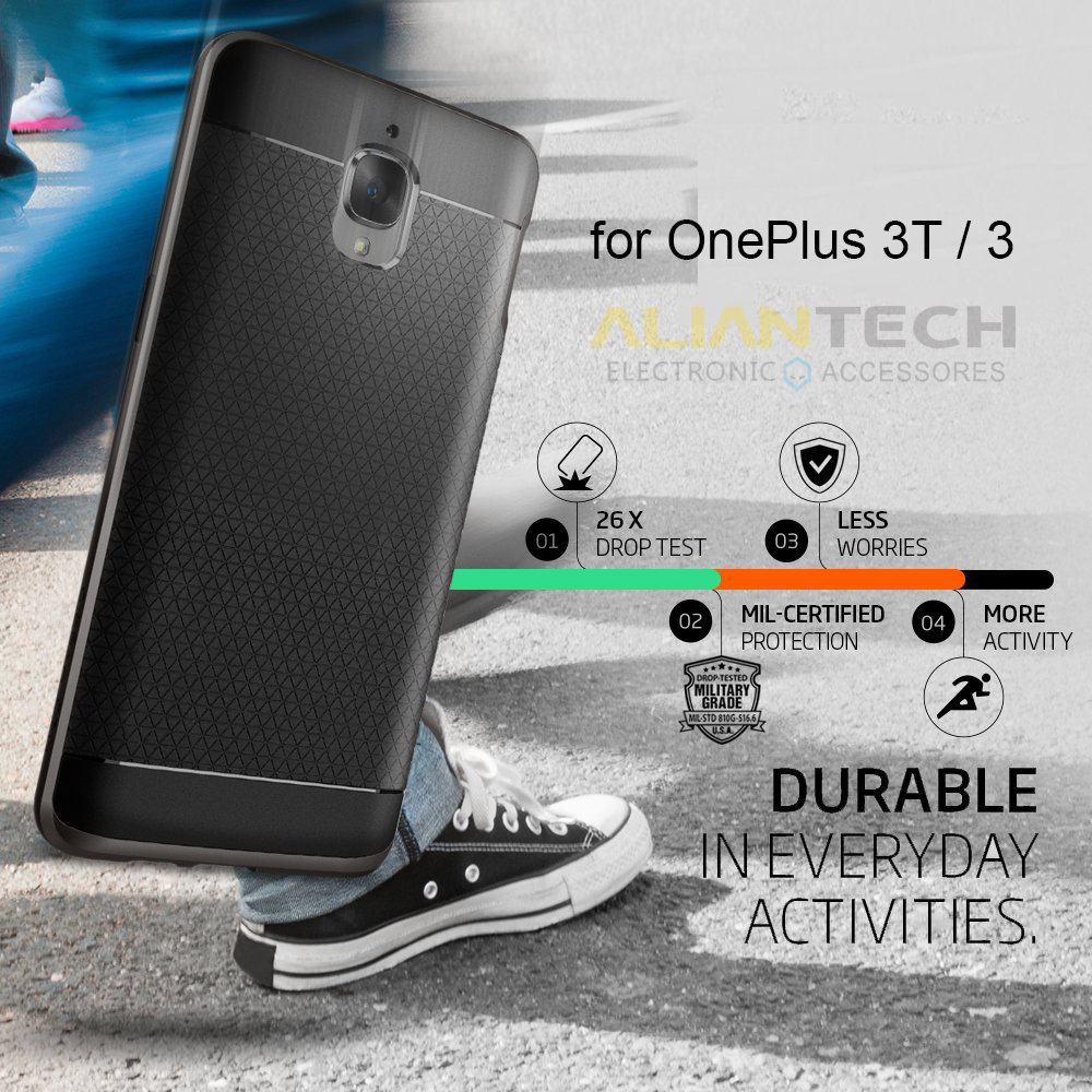 Aliantech OnePlus 3 / OnePlus 3T Hybrid Case Premium MIL-STD Dual Layer Protective Phone Cases for OnePlus 3 / OnePlus 3T