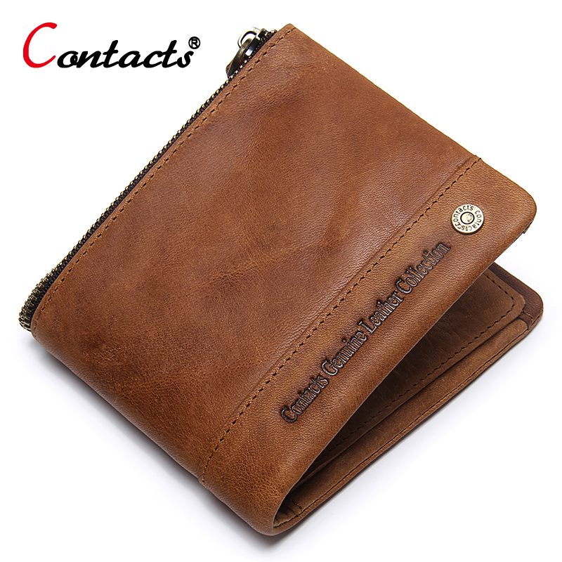 CONTACT'S Men Wallets Crazy Horse Cowhide Leather Men short wallet Coin Purse Male Genuine Leather Wallet men Credit Card Holder genuine crazy horse cowhide leather men wallets fashion purse with card holder vintage long wallet clutch bag coin purse tw1648