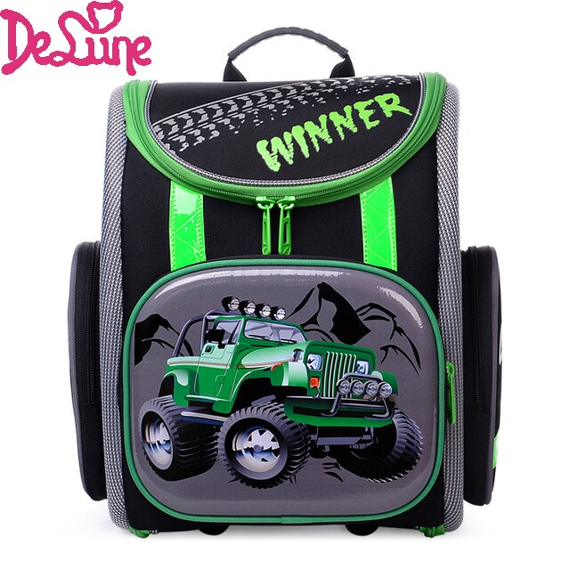 2017 Russia Brand Delune Racing Cars School Bags for Boys Waterproof Orthopedic font b Backpacks b