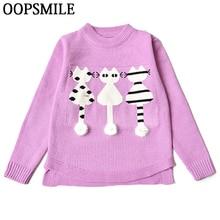 Bébé Filles Chandails Hiver Automne Enfants Pull Tricoté Vêtements Pour  Fille chat de Bande Dessinée Pull 0f85c16ebe4
