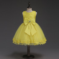 New Yellow Flower Girls Dress Kids Baby Bow Wedding Pageant Sleeveless Summer Princess Evening Party Dresses Children Clothes