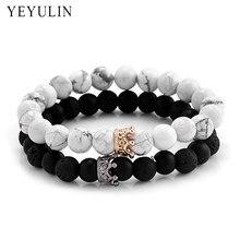 8eb65361beba Moda negro blanco piedra cuentas con oro Color plata aleación corona pulsera  para Mujeres Hombres pareja brazaletes joyería