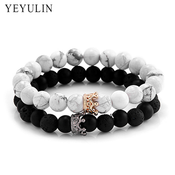 Trendy Black White Stone Beads with Gold Silver Color Alloy Crown Bracelet For Women Men Couple