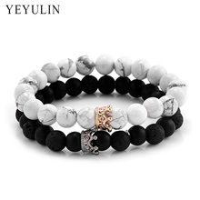 Trendy Black White Stone Beads with Gold Silver Color Alloy Crown Bracelet For Women Men Couple Bangles Jewelry