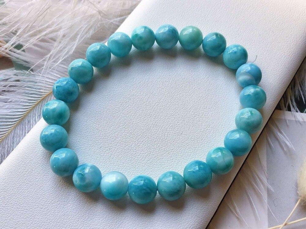 Genuine Natural Larimar Blue Round Beads Bracelet Stretch 9mm Water Pattren Women Man Jewelry Crystal Stone