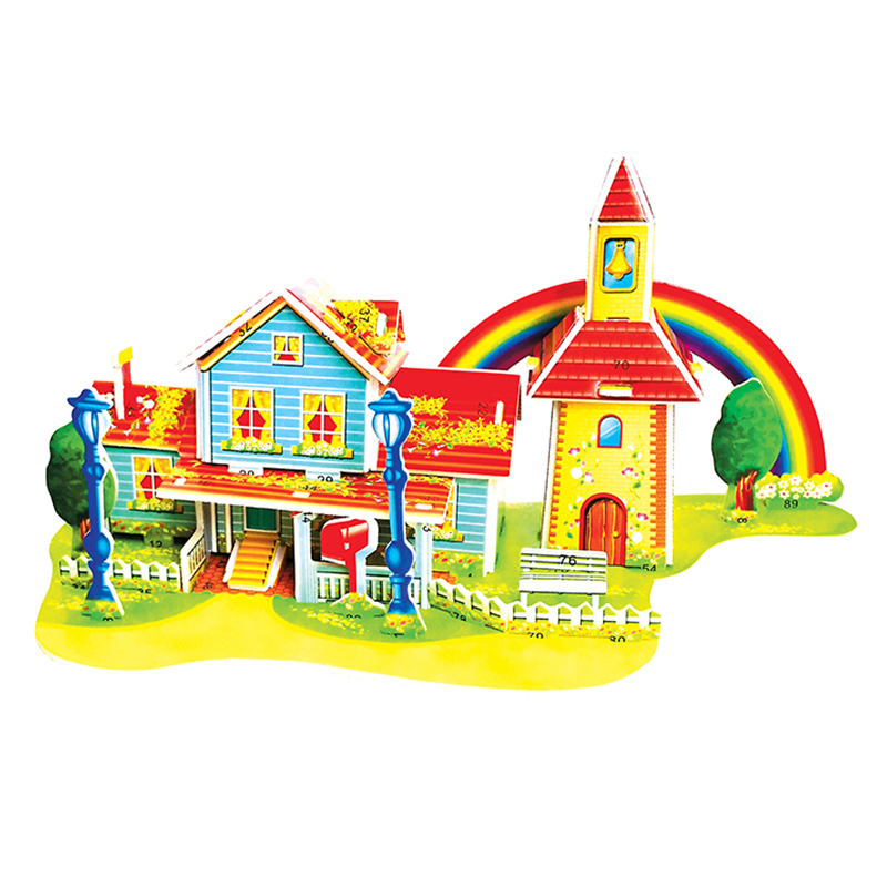 3D Puzzle Safe Foam Arts Crafts Diy Building Kits Craft Toys Red Rainbow House 3D Toys For Kids