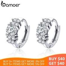 b0f772853fa3 BAMOER de cristal de Plata de Ley 925 de círculo redondo claro Cubic Zircon  aretes para las mujeres de la joyería de la plata es.