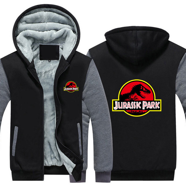 Dropshiping Jurassic Park Mens Hoodies Harajuku Print Unisex Top Winter Tracksuit Thicken Jacket Mens Sweatshirts Street US Size