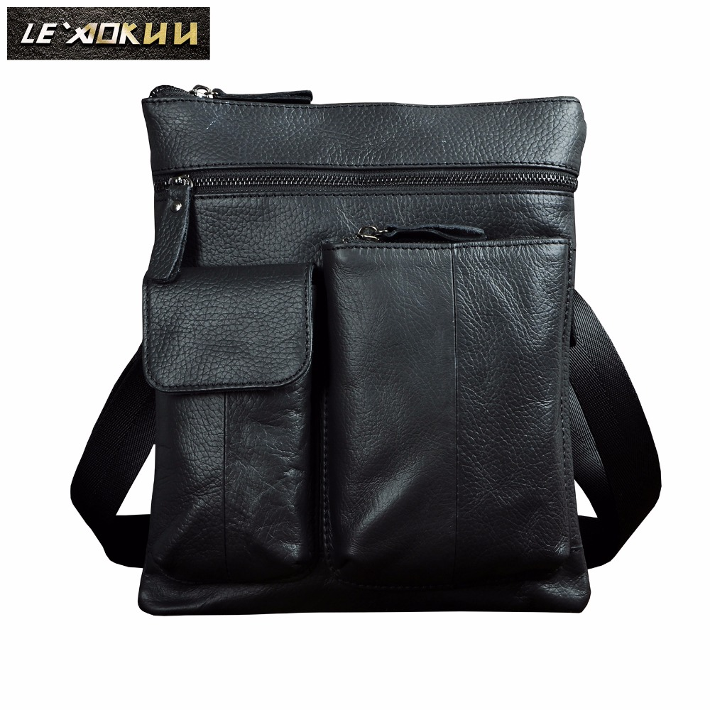 "Original Leather Male Design Shoulder Messenger bag Casual fashion Cross-body Bag 10"" Tablet School University College bag 308-b"