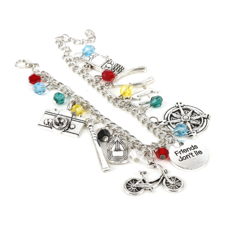 MQCHUN Women Charm Bracelet Stranger Thing Camera Motorcycle Phone Bracelet Bangle Vintage Friends Don't Lie Wristband Jewelry