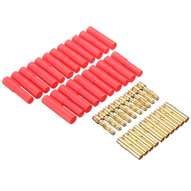 10 Sets HXT 4mm Banana Plugs with Red Housing for RC Connector Socket AM-1009C Gold Plated Banana Plug