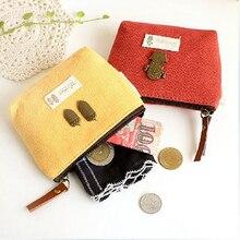 Frauen kinder Vintage Leinwand Geldbörse Reißverschluss Tasten Tasche Brieftasche Geldbeutel Geschenk BVW2