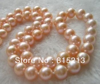 FREE SHIPPING>>>@@ > N473 very beautiful natural akoya 11-12 mm Pink pearls Necklace 18""