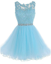 Sexy Elegante Spitze Mieder Kurz Blau Cocktail Party Kleid 2016