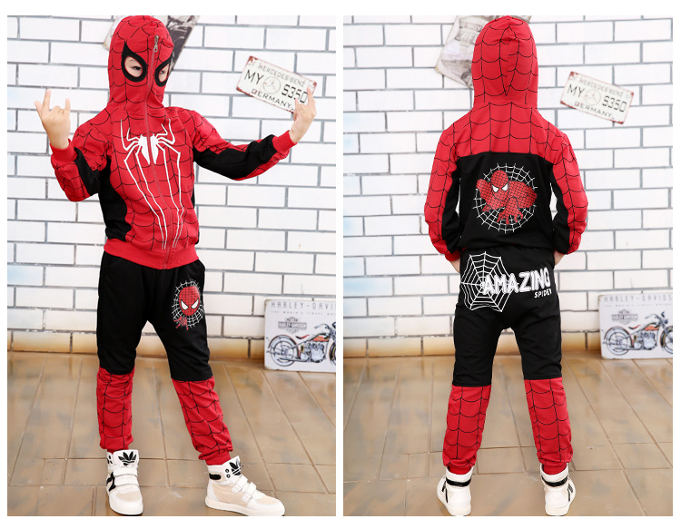 2017 Spring and Autumn Pants + Children Cartoon Hoodie Jackets 2 To 10 Years Child Boys Clothing Set Spiderman Costume for Kids