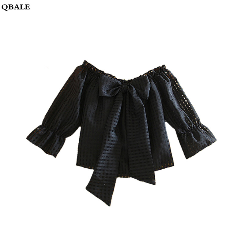 Qbale Summer Women Tops 2018 Fashion Laddies Slash Neck Front Big Bow Kawaii Female Plaid Shirts Off Shoulder Puff Sleeve Tees