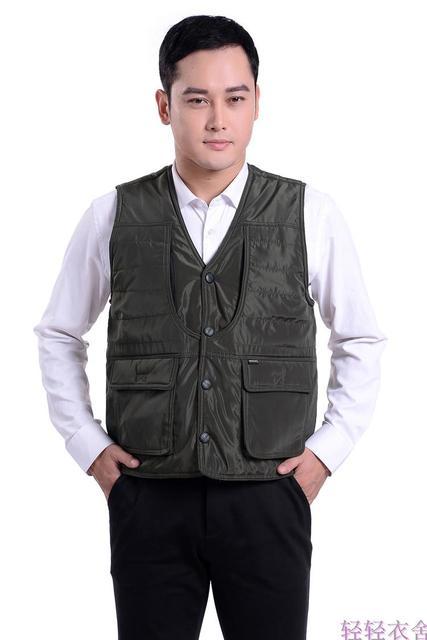 Man autumn plus size Casual Solid sleeveless plus velvet thicken down jackets male winter down parkas men spring down vests