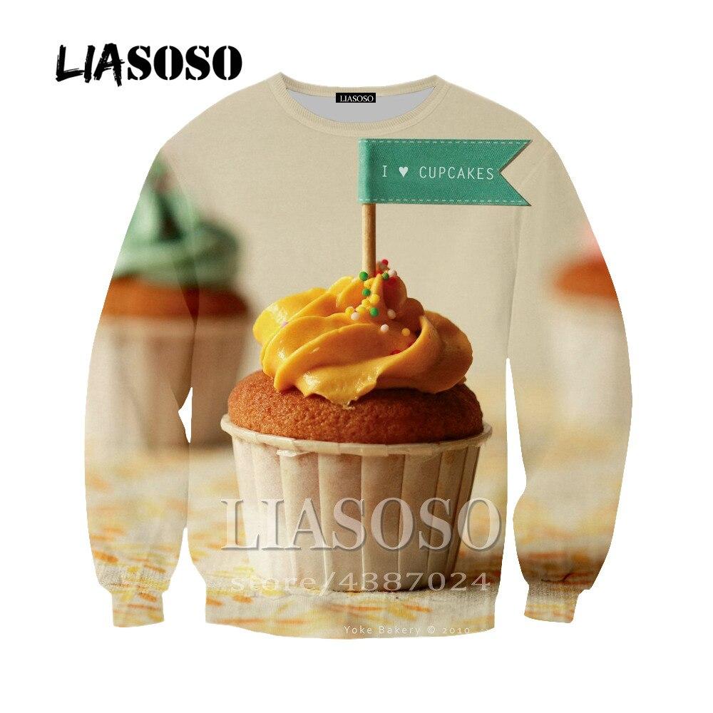 LIASOSO Лидер продаж 3D печати сладкий вкусный торт Толстовка Повседневное длинный рукав толстовка с капюшоном карман пуловер для Для мужчин Дл...
