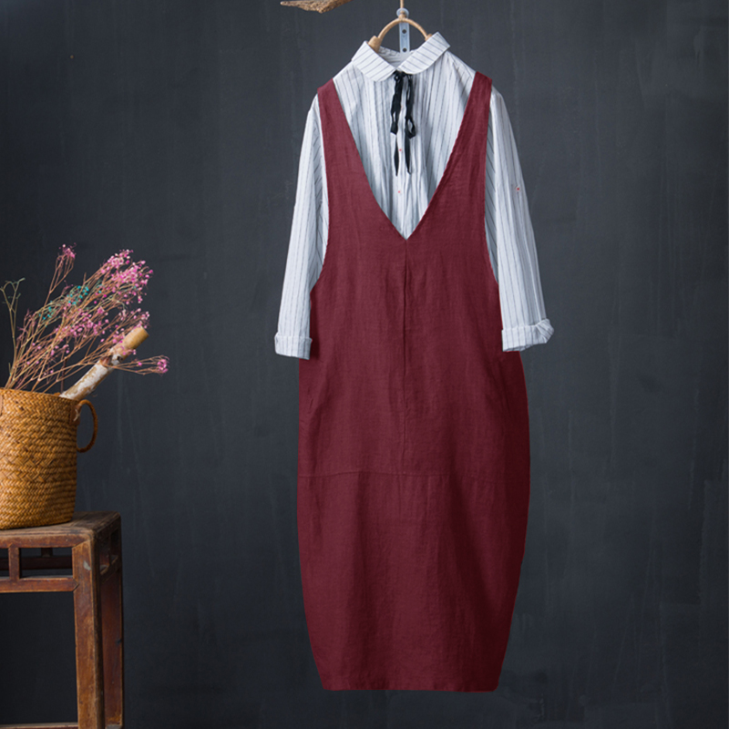 220f71a0cb Detail Feedback Questions about ZANZEA 2018 Vintage Women Cotton Linen  Overalls Dress Elegant Female V Neck Sleeveless Casual Vestido Ladies Plus  Size ...