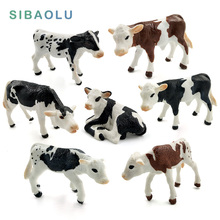 Farm poultry Kawaii Simulation mini milk Cow Cattle Bull Calf plastic Ox animal model figurine toy figures home Decor decoration
