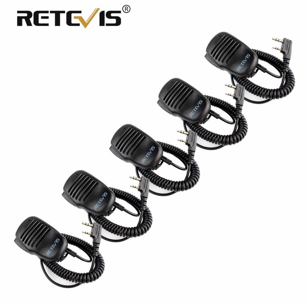 5 pcs À Distance Haut-Parleur Microphone 2Pin PTT Mic Talkie-walkie Accessoires Pour Baofeng UV5R BF-888s Retevis RT5R H777 RT7 pour Kenwood