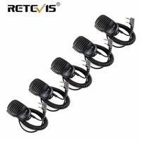 5pcs Walkie Talkie Speaker Microphone 2Pin PTT Mic 3.5mm earphone jack For Kenwood Baofeng UV 5R UV5R Retevis RT5R H777 RT22 RT3