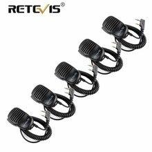 5 шт. портативной громкоговоритель микрофон 2Pin PTT Mic 3,5 мм разъем для наушников для Kenwood Baofeng UV-5R UV5R Retevis RT5R H777 RT22 RT3