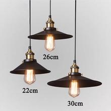 American vintage e27 loft pendant black single head bar table pendant light kitchen room hanging lights