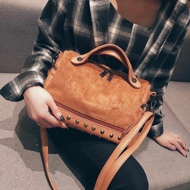 SINTIR Vintage Nubuck Leather Rivet Larger Women Bags Female Top-handle Bags Shoulder Bag Motorcycle Messenger Bag Sac 4