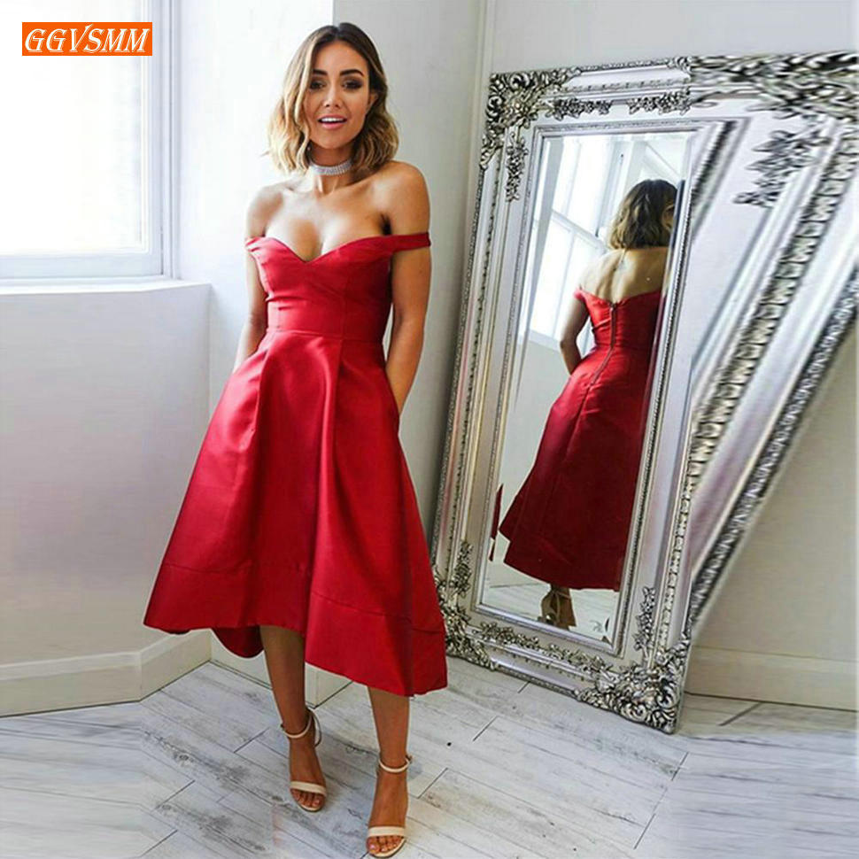 Simple Satin Hi-Lo Red   Prom     Dresses   Sexy Off Shoulder Zipper A Line   Prom     Dress   Tea Length Custom Made Formal Evening Party Gowns