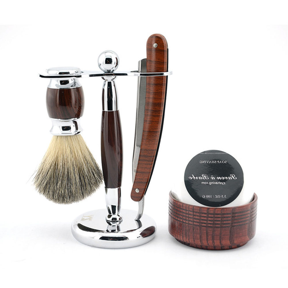 Razor Barber Set Folding Straight Razor +Hair Brush Holder+Wood Soap Bowl+Badger Hair Shaving Brush+Shaving Soap+Free Razor Case mens badger shaving brush stand razor holder and double head safety straight razor