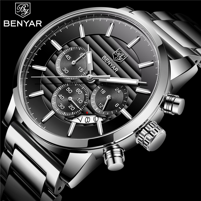 <font><b>BENYAR</b></font> Watch Men Luxury Brand Chronograph Men's Business Watches Waterproof Stainless Steel Quartz Wristwatch Relogio Masculino image