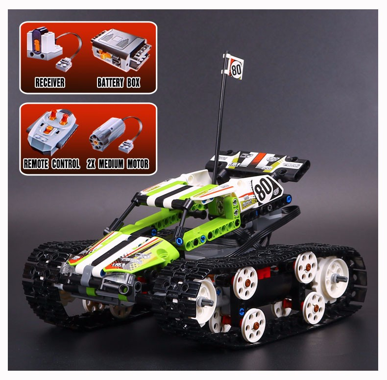 Lepin 20033 397pcs new Technic Series The RC Track Remote-control Race Car Set Educational Building Blocks Bricks Toys 42065 glow race track bend flex glow in the dark assembly toy 112 160 256 300pcs slot race track 1pc led car puzzle educational toys
