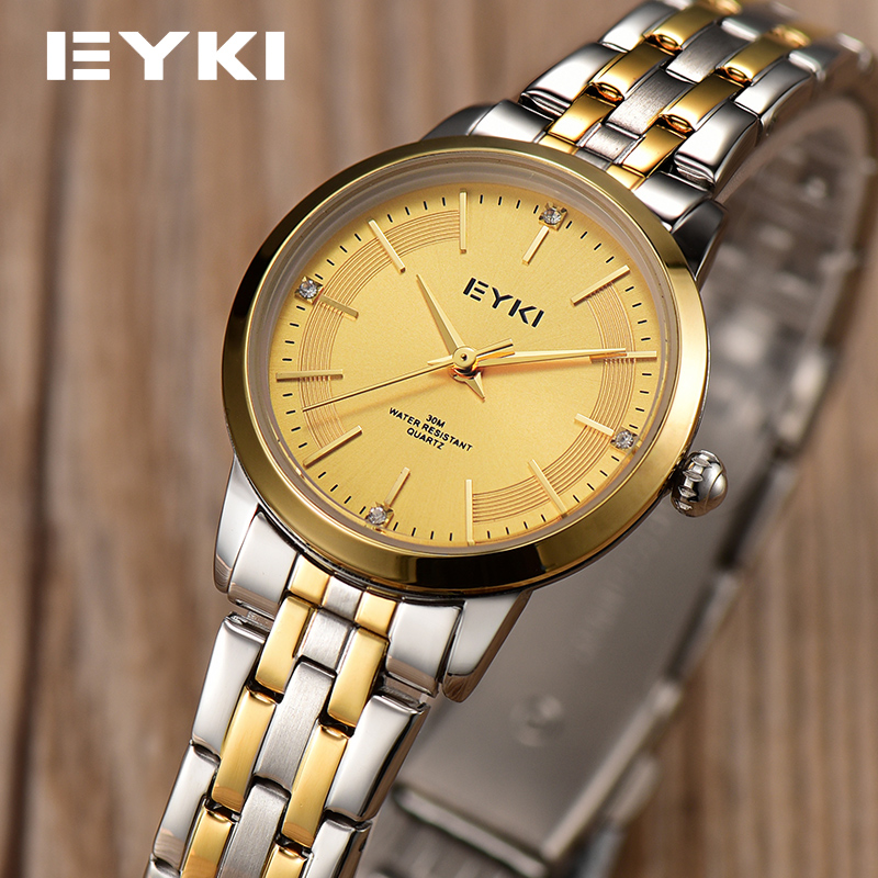 Brand EYKI Women Business Watches Full Metal Steel Strap Golden Waterproof Luxury Fashion Ladies Watches
