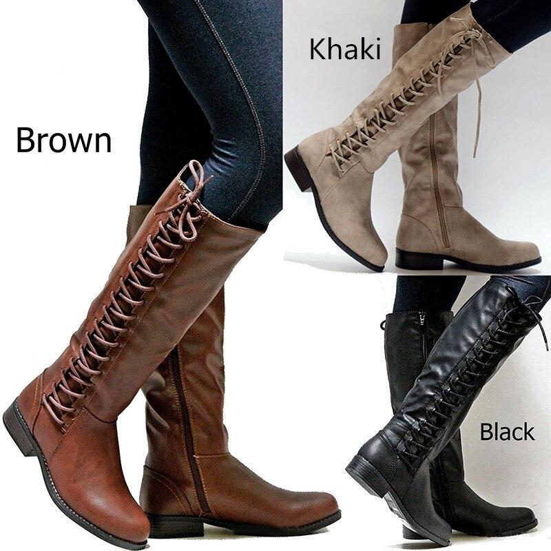 Otoño Plano Europea Señoras Zapatos De Hasta Xingdeng Las Punk Vendaje Primavera Moto Cuadrado brown Beige Encaje black Largas Tacones Botas Montar OYgxwqCaxW
