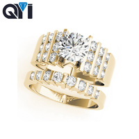 QYI Fancy Shape 14K Solid Yellow Gold Two Tone Ring Sets Round Cut 1ct Sona Simulated Diamond Engagement Wedding Ring For Women