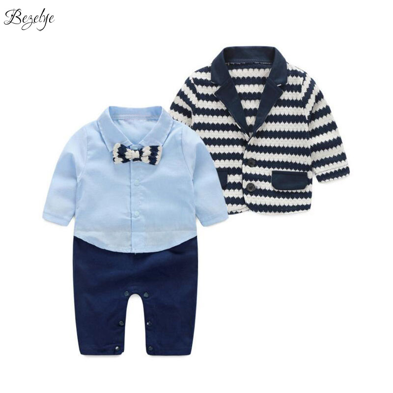 Baby Newborn Set for Boys Long Sleeves Baby Boy Outfit Child Suit for Boys Wedding Clothes Gentleman Blazer Coat Sets Kids 4-24M gentleman baby boy clothes black coat striped rompers clothing set button necktie suit newborn wedding suits cl0008