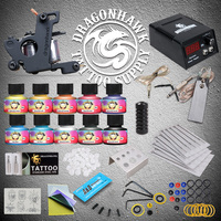 Tattoo Starter Kits Coils Guns Machine 10 Tattoo Ink Sets Power Supply Disposable Needle
