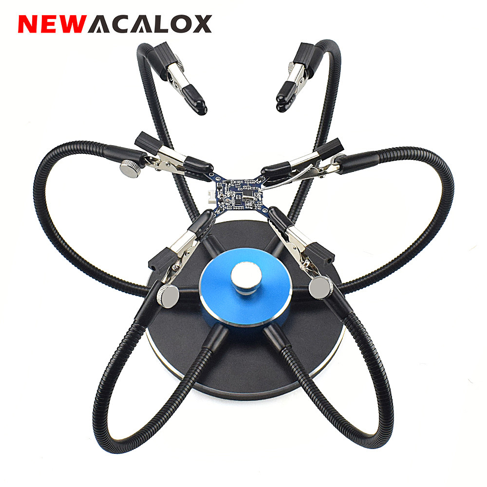 NEWACALOX Third Pana Hand Aluminum Base Soldering Station Holder with 6pcs Helping Hands 360 Degree Swiveling Clips Welding Tool