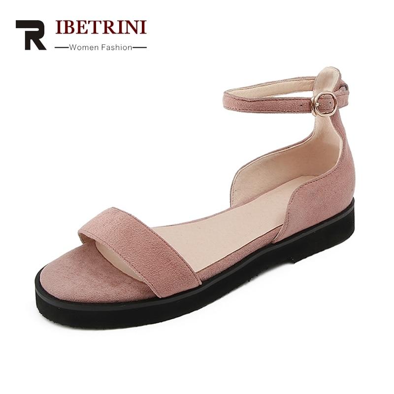 RIBETRINI 2019 New Brand Design Kid Suede Buckle Strap Women Shoes Sandals Fashion Black Shoes Woman Sandals Size 35-39