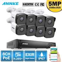 ANNKE 8CH HD 5MP POE Network Video Security System 8MP H.265+ NVR With 8X 5MP 30m Color Night Vision Weatherproof WIFI IP Camera