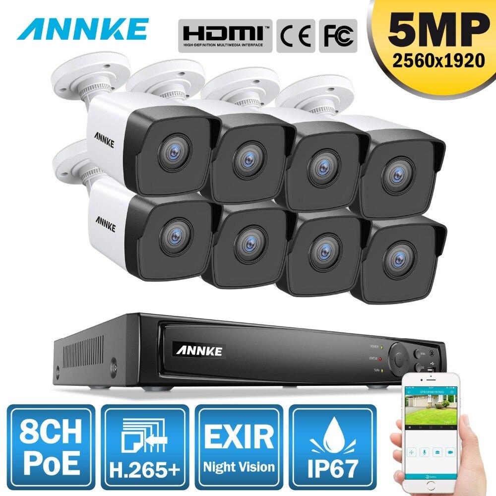ANNKE 8CH HD 5MP POE Network Video Sistema di Sicurezza 8MP H.265 + NVR Con 8X5 MP 30m visione Notturna a colori Resistente Alle Intemperie IP di WIFI Della Macchina Fotografica