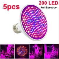 5pcs Espectro Completo Planta LEVOU Crescer Luz 200 E27 Lâmpadas sala de flores crescer lâmpada de efeito estufa Hidropônica Interior caixa de crescimento iluminação
