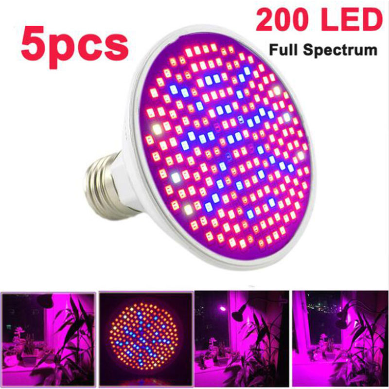 5pcs Full Spectrum LED Plant Grow Light 200 E27 Bulbs Flowers Growing Lamp Hydroponic Greenhouse Indoor Room Box Growth Lighting