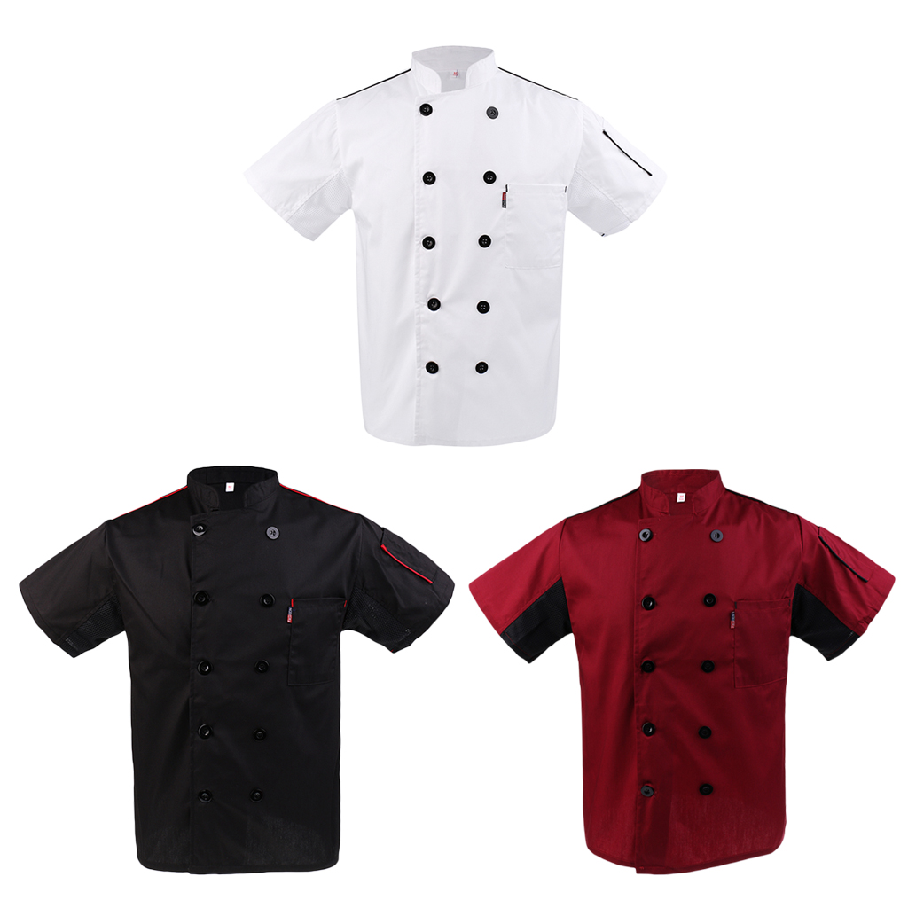 Mens Womens Summer Chef Jacket Soft Poly Cotton Mesh Catering Jacket Uniform - Double-breasted With A Stand Up Collar