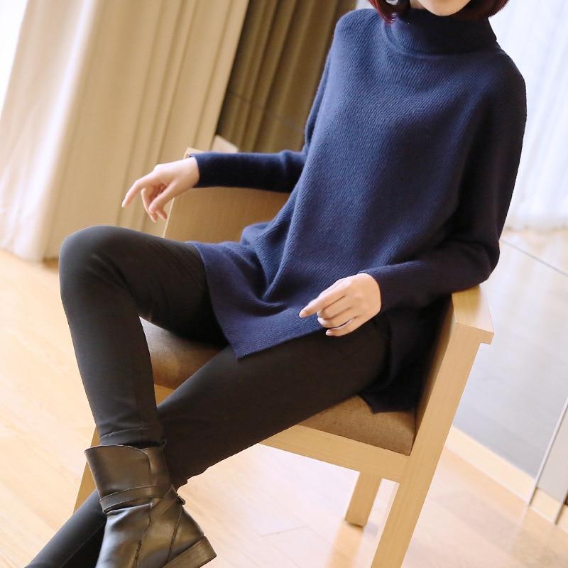 De Black Nouvelle Grande Longue Taille Haut dark Col Chandail Blue Pull 2018 Section Lâche Mode Creux gray Automne Femelle Et D'hiver Femmes qKSpUpXv4w