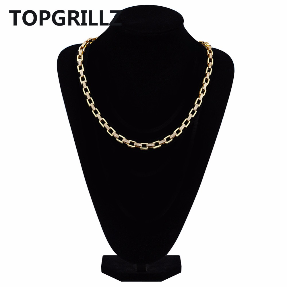 TOPGRILLZ Hip Hop Men's Jewelry Necklace Copper Gold/Silver Color Plated Micro Pave CZ Stone 7mm Chain Necklace 18 inch 22 inch
