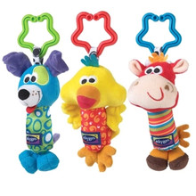 Baby Toys Rattle Tinkle Hand Bell Multifunctional Plush Toy Baby Stroller Rattles Toy Duck, Dog,Deer