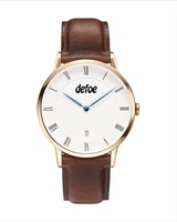 Defoe Men's Stainless Steel Watch Genuine Leather Watches Japan Movt Wristwatch DW 038