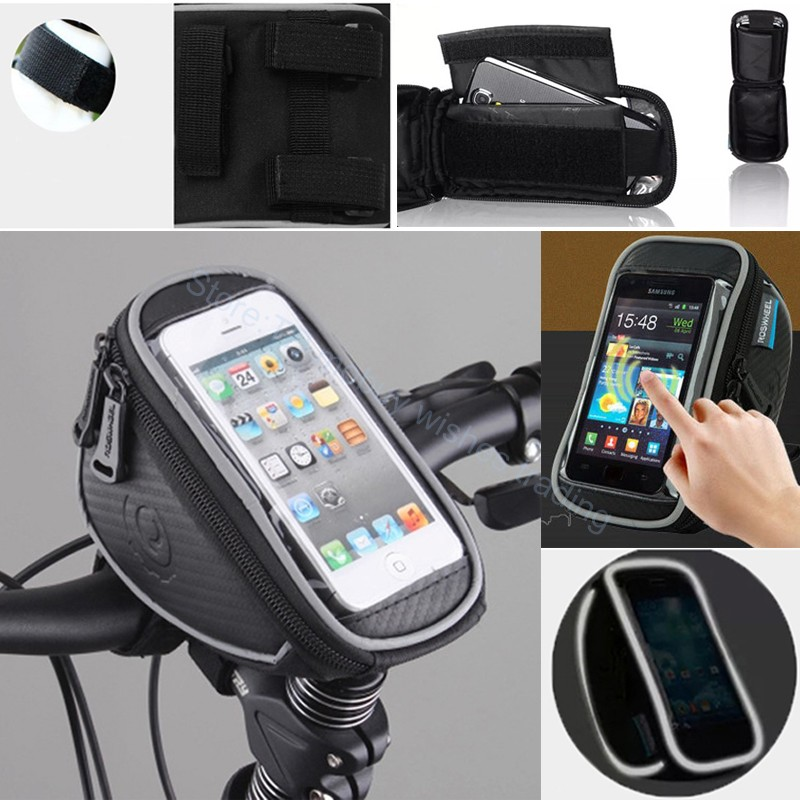 5 5 inch bike mobile cell phone waterproof bag stand. Black Bedroom Furniture Sets. Home Design Ideas